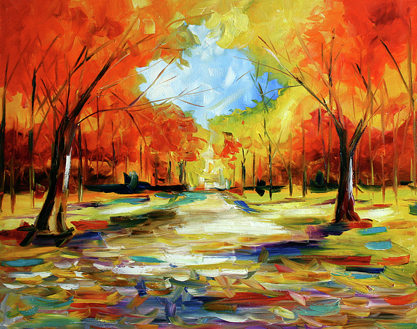 Fall walk in the trees painting by laurie pace for Autumn tree painting