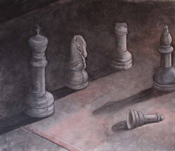 Chess Piece Painting - Fallen Chessman by Sandy Clift