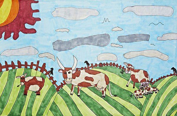 Cows Drawing - Family On Green Pastures by Stephanie Ward