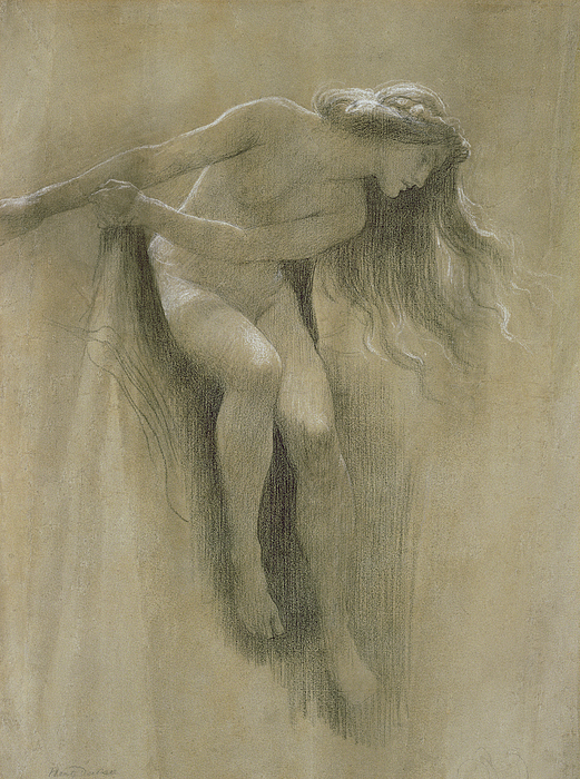 Female Nude Study (chalk On Paper) By John Robert Dicksee (1817-1903) Pastel - Female Nude Study  by John Robert Dicksee