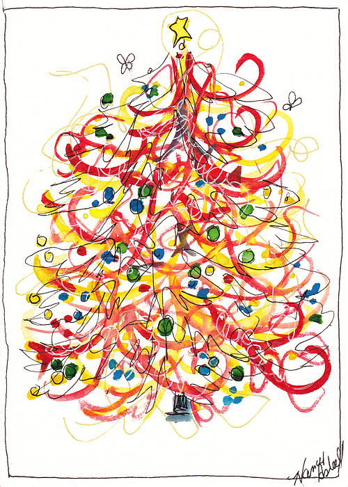 Antique Ornament In Red Painting - Fiesta Christmas Tree by Michele Hollister - for Nancy Asbell