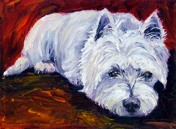 West Highland White Terrier Painting - Fire Glow - West Highland White Terrier by Lyn Cook
