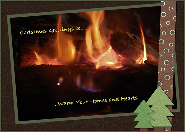 Christmas Photograph - Fireside Christmas Greeting by DigiArt Diaries by Vicky B Fuller