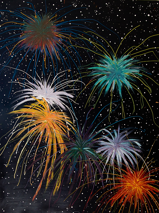 Fireworks Painting - Fireworks by Julia Collard