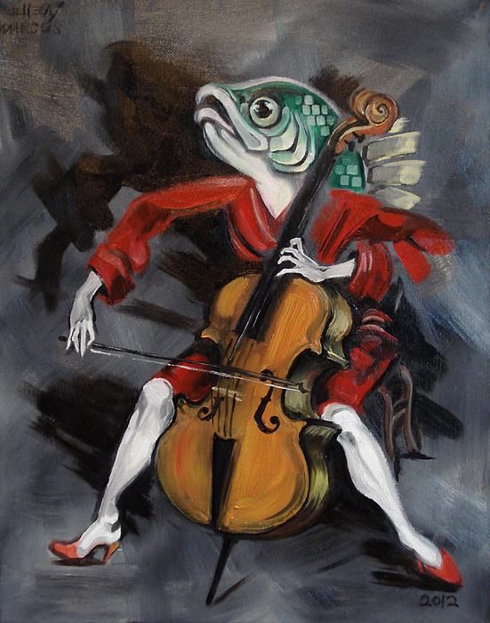 Robert Bereny Painting - Fish Playing Cello by Ellen Marcus