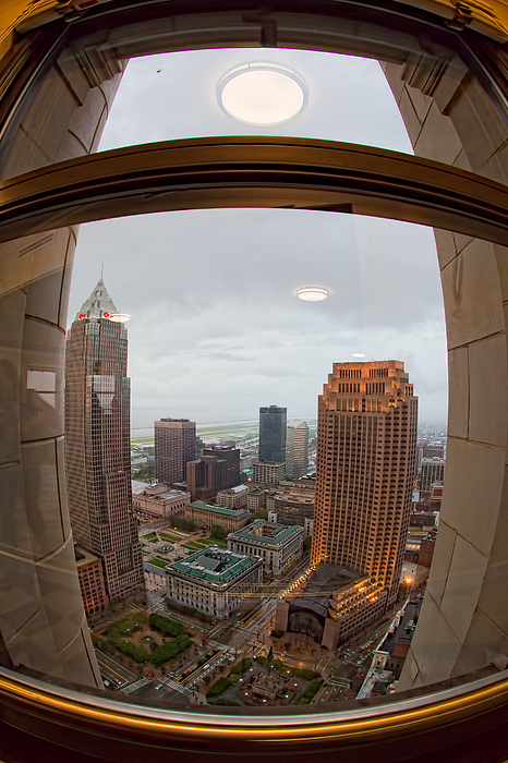 Burke Lakefront Airport Photograph - Fisheye View Of Cleveland From Terminal Tower Observation Deck by Kathleen Nelson