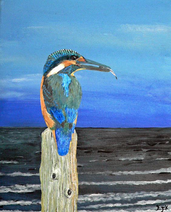 Fishing Post Kingfisher Of Eftalou. Painting by Eric Kempson