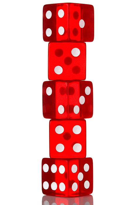 Dice Photograph - Five Dice Stack by Richard Thomas