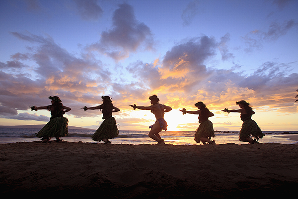 Aloha Photograph - Five Hula Dancers At Sunset At The Beach At Palauea by David Olsen