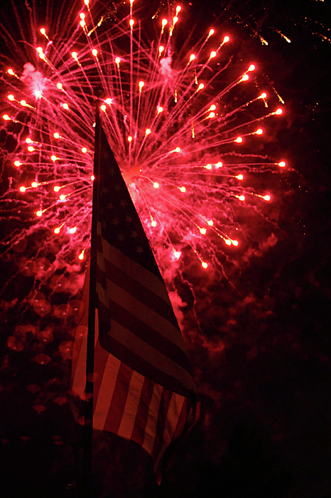 3d Photograph - Flag And Fireworks by Alan Look