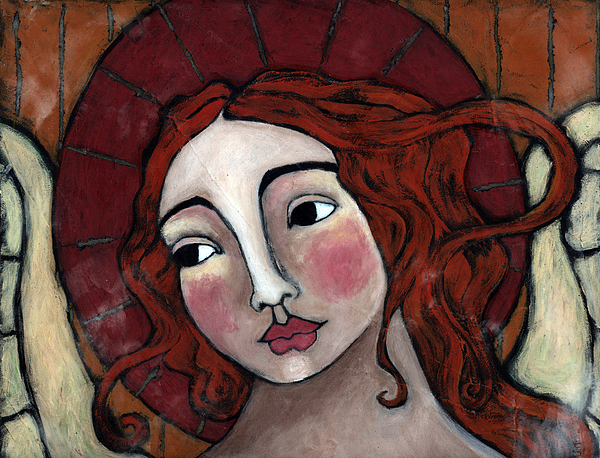 Religious Art Painting - Flame-haired Angel by Julie-ann Bowden
