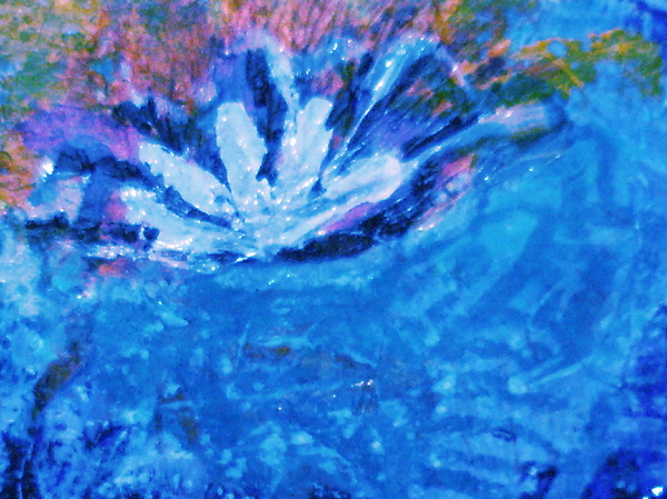 Blue Painting - Floating Flower by Anne-Elizabeth Whiteway
