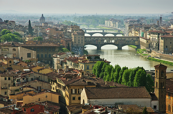 Horizontal Photograph - Florence. View Of Ponte Vecchio Over River Arno. by Norberto Cuenca