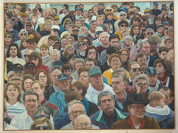 Crowd Scene Painting - Football Fans At West Point by James Sparks