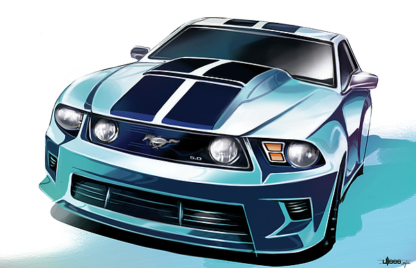 Muscle Digital Art Painting - Ford Mustang 5.0 by Uli Gonzalez