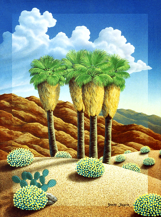 Palm Trees Painting - Four Bunch Palms by Snake Jagger