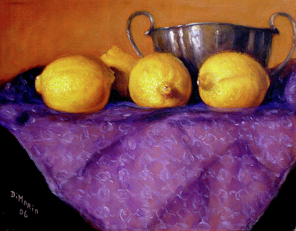 Realism Painting - Four Lemons by Donelli  DiMaria