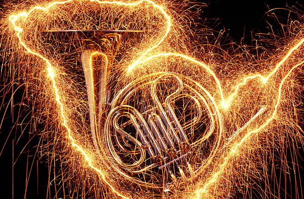 French Horn Outlined With Sparks Photograph