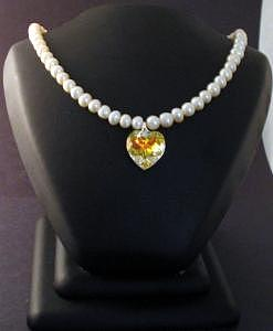 Pearl Jewelry - Freshwater Pearl And Clear Aurora Borealis Swarovski Heart Necklace And Earrings Set by Stephanie  Myers