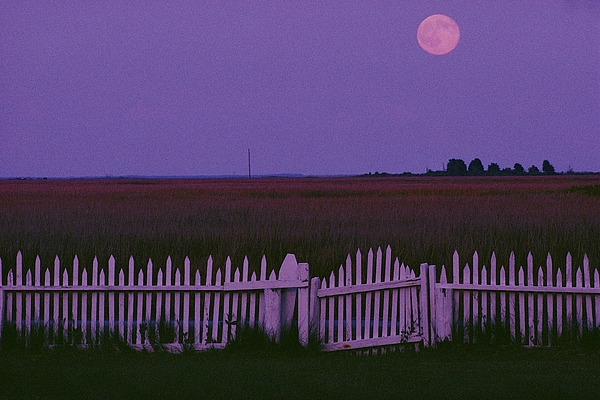 Outdoors Photograph - Full Moon Rising Over A Picket Fence by Robert Madden