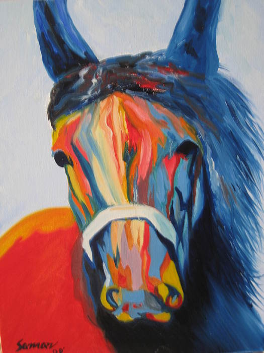 Horse Painting - Full Of Life by Saman Khan