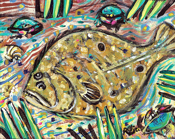 Rwjr Painting - Funky Folk Flounder by Robert Wolverton Jr