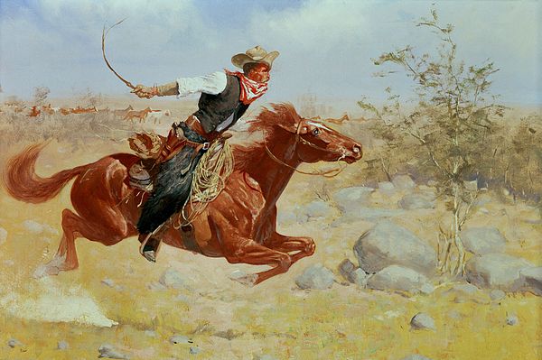 Galloping Horseman Painting - Galloping Horseman by Frederic Remington