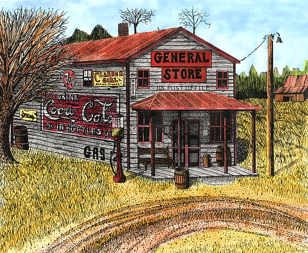 General Store Drawing - General Store by Mike OBrien