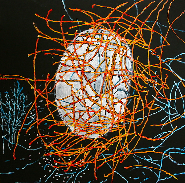 Plants Painting - Gibbous Moon by Ray  Petersen