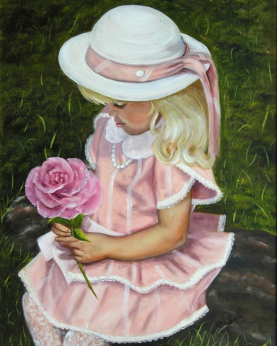 Girl Painting - Girl With Rose by Joni McPherson