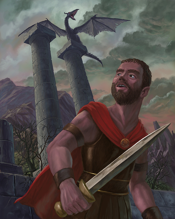 Creature Painting - Gladiator Warrior With Monster On Pillar by Martin Davey