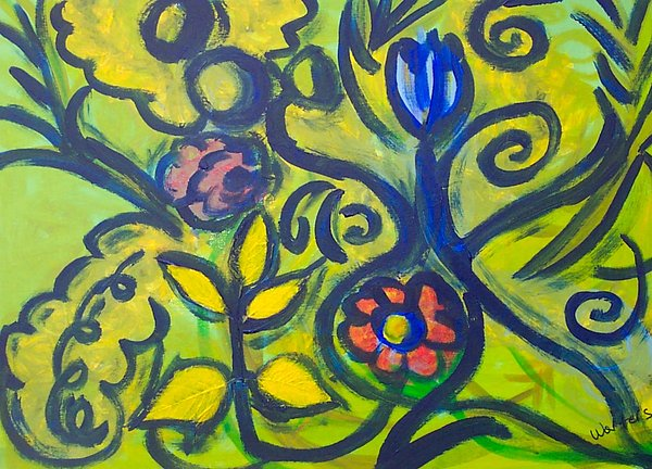 Floral Painting - Glowing Garden by Rebecca Merola
