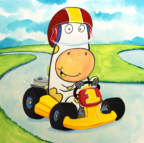 Cow Painting - Go Cart Cow by Scott Nelson