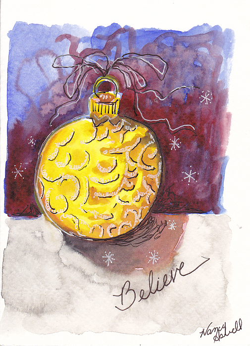 Antique Ornament In Gold Painting - Gold Christmas Ornament by Michele Hollister - for Nancy Asbell