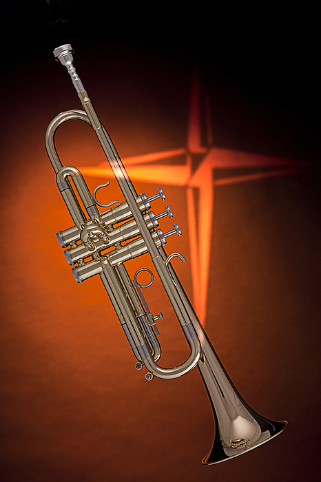 Trumpet Photograph - Gold Trumpet With Cross On Orange by M K  Miller
