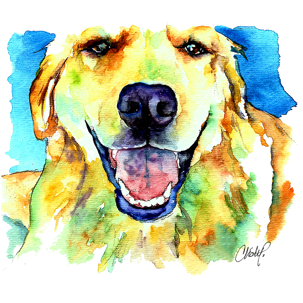 Golden Retriever Portrait Painting