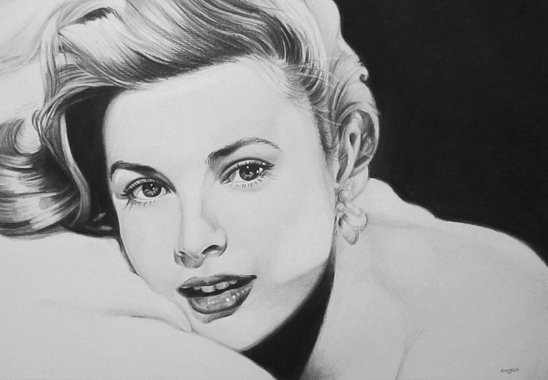 Grace Kelly Kelley Rear Window Actress Hollywood Cary Grant Charcoal Portrait Black And White Pencil Female Woman Drawing - grace by Steve Hunter