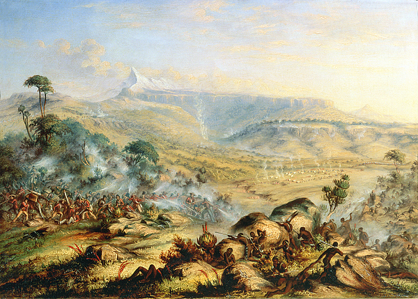 Battle; Africa; African; Africans; British; English; Fighting; Soldiers Painting - Great Peak Of The Amatola-british-kaffraria  by Thomas Baines