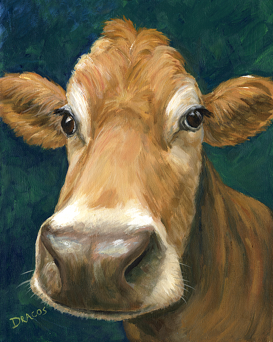 Cow Painting - Guernsey Cow On Teal by Dottie Dracos