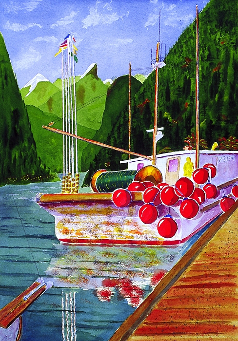 Seascape Painting - Gunboat Slough Bouys by Buster Dight