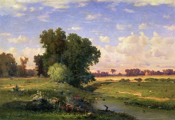 Meadow; Landscape; River; Stream; Field; Fields; Tree; Trees; Hudson River School; Rustic; Countryside; Farmhouse; Path; Riverbank; Riverside; New Jersey; Landscapes Painting - Hackensack Meadows - Sunset by George Snr Inness