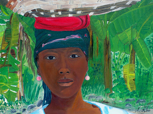 Haitian Woman By Nicole Jean-louis Painting - Haitian Woman   2 by Nicole Jean-Louis