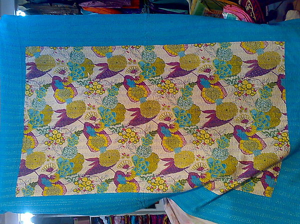 Quilts Tapestry - Textile - Hand Made Kanth Bed Cover by Dinesh Rathi