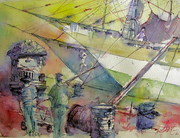 Watercolor Painting - Harbor Of Jakarta  Indonesia by Christian Couteau