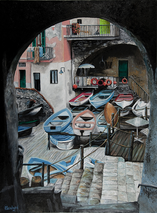 Harbor's Edge In Riomaggiore Print by Charlotte Blanchard