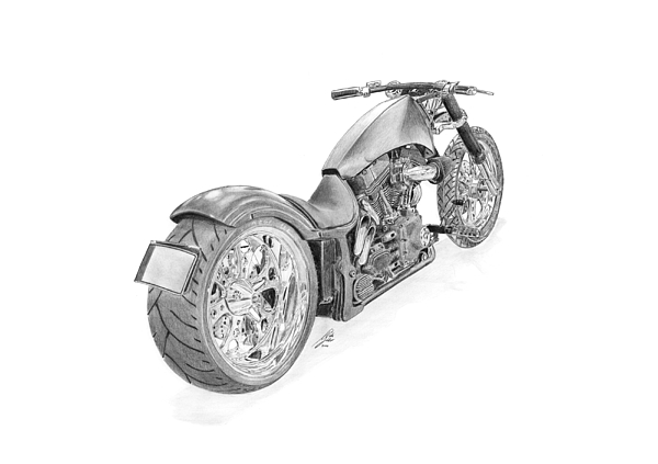Bike Drawing - Harley-davidson Twin Cam Custom by Gabor Vida