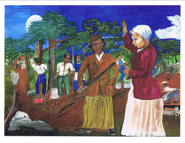 Underground Railroad Painting - Harriet Tubman-sworn To Secrecy by Everna Taylor