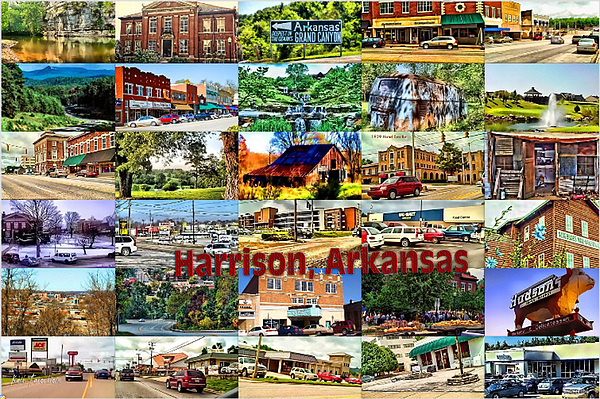 Harrison Arkansas Collage Print by Kathy Tarochione
