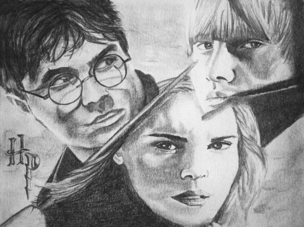 Harry Potter Hermoine Granger Ron Weasley Pencil Collage Drawing - Harry Potter by Madelyn Mershon