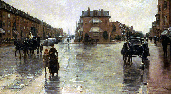 Hassam: Rainy Boston, 1885 Photograph